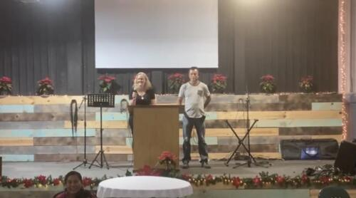 Allison teaching at the women's Christmas event