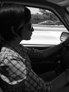 Rosemary driving for the first time on the freeway.