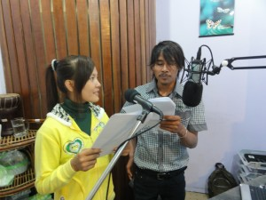 """""""Udom"""" and """"Nimol"""" recording the Truth Talk dialogue"""