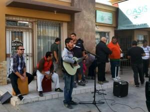 Singing Worship Songs on the Corner