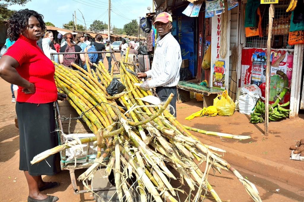 Sugarcane for sale in Kibera, Kenya
