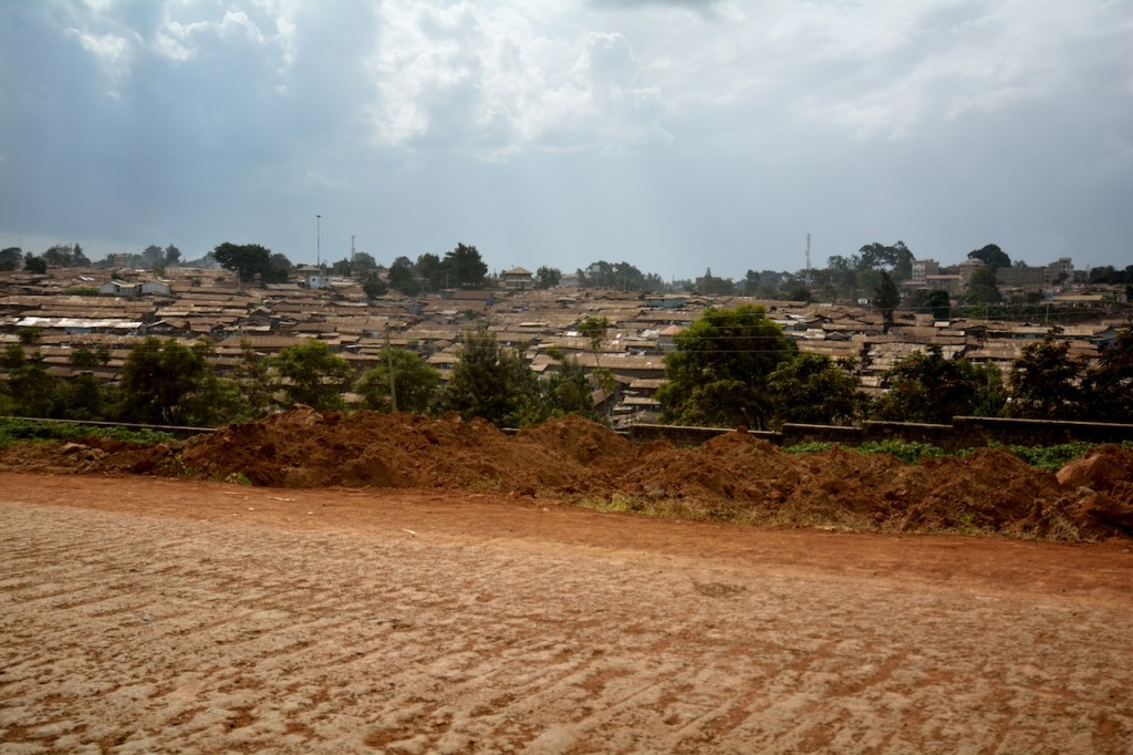 A shot of Kibera from a distance.