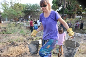 The Women carried heavy buckets of concrete to help build the wall at CCB, all day for many days. For the Glory of God.