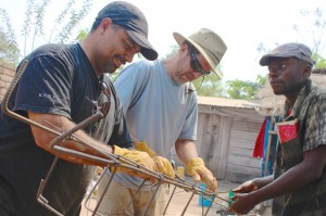 We tie the rebar together for the cement post's.