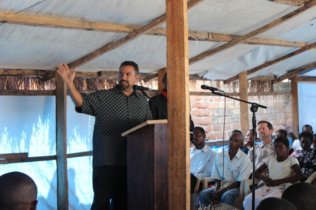 Pastor Dave Prays for the church on Sunday morning service at Calvary Chapel Baraka