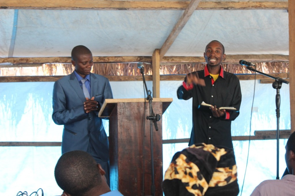 Sunday Service at Calvary Chapel Baraka. Pastor Ibrahim and his Assistant Pastor Bahati.