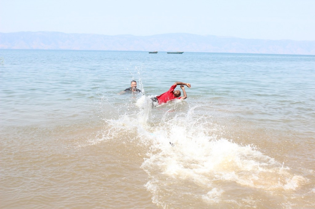 After baptism we go for a swim in Lake Tanganyika.