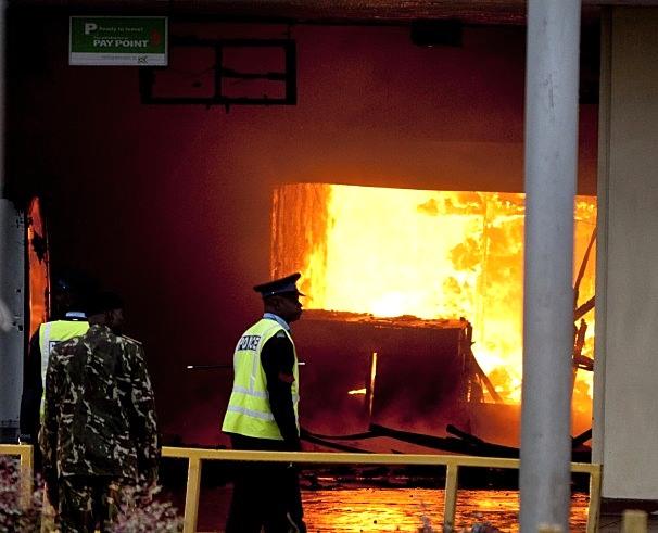 Jomo Kenyatta International Airport on fire.